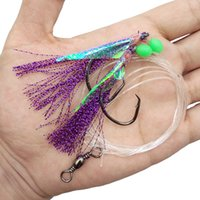 Wholesale Bait Fish Rigs - 10pcs Fish Skin Bait Sabiki Rigs 2 Arm Big Sport Circle Hook Sea Fishing Purple Flasher Bait Rigs With Barrel Swivel For Herring
