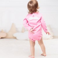 Wholesale pink angel baby clothes resale online - INS Autumn and winter cotton children triangular climbing clothes child lovely angel wings baby rompers kid girl boy child wt1708