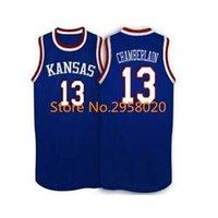 Wholesale Ku Jayhawks - Cheap custom #13 Wilt Chamberlain Kansas Jayhawks KU College Basketball Jersey White Blue Embroidery Stitched Custom any Number and name