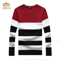 Wholesale Warm Sweater Size Xs - Wholesale- 2016 Full Sleeve Striped O-neck Casual Plus Size Warm Wool Pullover Sweater Chompas Para Hombre