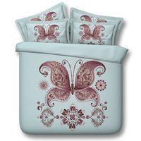 2017 Lake Blue 3D Bedding Sets Butterfly Impresso 4 pcs Modal Comforter Sets Queen King Size Duvet Cover Folha de cama Fundas de almofada