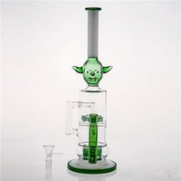 Wholesale green glass art - Green Monster Head Adapter Glass Bongs Wate Pipes With Bowl Layered Perclator Smoking Pipes Hookahs Oil Rigs Glass Bong Art Stems