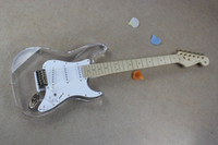 Wholesale Led Crystal Acrylic Guitar - Limited - time discount Free Shipping Transparent Stratocaster LED Crystal Acrylic Glass Electric Guitar Wholesale