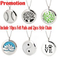 "Wholesale 316l Stainless Steel 24 - Premium Aromatherapy Essential Oil Diffuser Necklace Locket Pendant, 316L Stainless Steel Jewelry with 24"" Chain and 10 Washable Pads"