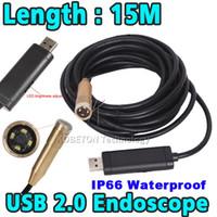 Wholesale Inspection Camera 15m - Wholesale-Hot Sale 15m 14mm Lens 4 LED USB Waterproof Borescope Endoscope Inspection Snake Sewer Tube Mini Endoscope Borescope Camera