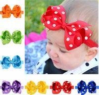 Wholesale Gift Ribbon Dots - Kids headband babies polka dots hair flowers 20 color 10CM grosgrain ribbon bows headwear girl photography props children gift T4486