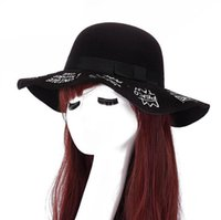 Wholesale British Top Hat Black - Best gift Autumn and winter big along the dome hat British imitation wool felt hat ladies wide eaves hot word fashion ceremony cap SMB046