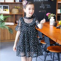 Wholesale Korean Silk Clothes - Kids Girls Chiffon Floral Dresses Baby Girl Princess Ruffles Dress Babies Summer Korean clothing 2017 childrens clothes