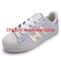 Wholesale Blue Green Lasers - Laser flash shoes women casual shoes superstar shoe lace up women men flats Bright laser shoes