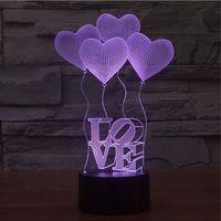 Wholesale Heart Touch Love - Wholesale- touch 3D illusion Lamp LED Night Lights 3D four Love Heart Acrylic bulb Discoloration Colorful Atmosphere Lamp lampara de lava