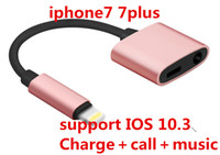 Wholesale Iphone Chargers Earphones - 2 in 1 Charge and Audio Iphone 7 Earphone Headphone Jack Adapter Connector Cable 3.5mm Aux Headphone Jack compatible IOS 10.3