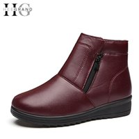 Wholesale Waterproof Wedge Winter Boots Women - Wholesale- HEE GRAND Plush Winter Boots Woman Waterproof Zip Wedges Mother Shoes Woman 2016 Casual Slip On Ankle Boots Size 35-41 XWX5087