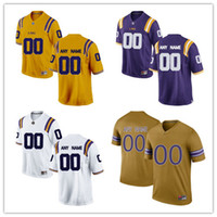 Wholesale Custom Jerseys Cheap Football - Custom Mens LSU Tigers College Football Limited white purple gold Personalized Stitched Any Name Number #2 #3 #7 #11 cheap Jerseys S-3XL