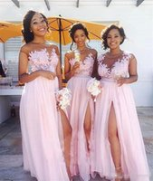 Wholesale Vintage Bridesmaid Dresses Jewels - Pink Plus Size Country Bridesmaids Dresses 2017 A Line Illusion Long Chiffon Vintage Lace Cap Sleeves Split Maid of Honor Gowns Prom Dress