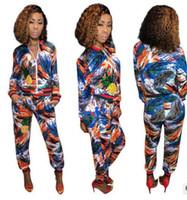 Wholesale Corduroy Coat Ladies - new Women Sportswear Fashion graffiti printed sequins Jogging Sport Suit for Ladies Leisure Tracksuit Baseball jackets coat +Sweatpants