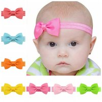 Wholesale Ribbon Tie Headband - Wholesale- 20pcs lot Baby Girl Small Bow Tie Headband DIY Grosgrain Ribbon Bow Elastic Hair Bands For Infant Toddler Hair Accessories 644