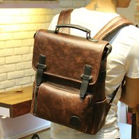Wholesale Male School Bags - Wholesale- ETN BAG hot sale brand high quality men PU Leather backpack male vintage leather bag school bag man travel backpack fashion bags