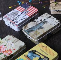 rechteckiges gehäuse großhandel-Neue rechteckige Folie Abdeckung Mini Eisen Aufbewahrungsbox Hochzeit Schmuck Fällen tragbare Blechdosen Container