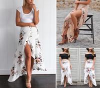 Wholesale Boho Print Maxi Skirt - Vintage Floral Print Long Skirts Women Summer Elegant Beach Maxi Skirt Boho High Waist Asymmetrical Skirt