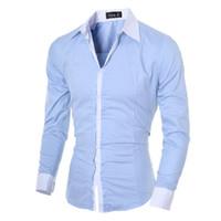 Wholesale Dress Shirt 22 - Wholesale- 2016 Brand New Men Shirt Male Dress Shirts Men's Fashion Casual Long Sleeve Business Formal Shirt Camisa Social Masculina 22