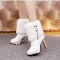 Bling High Heels Rabbit Fur Boots Mulheres Plush Warm Platform sapatos de salto alto Elegant Crystal Lady Wedding Party Sapatos de salto alto Martin boots