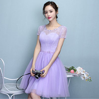 Wholesale Short Bridesmade Dresses - short lavender sleeved o neck bridesmaid formal tulle gown ball beautiful classic bridesmade dress women party gowns X4037