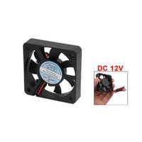 Wholesale dc 12v brushless cooling fan - Wholesale- New Plastic DC 12V 2 Pins Connector Brushless Cooling Fan 50mm x 50mm x 10mm