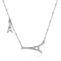 eiffel schmuck großhandel-Schöne funkelnde Zirkonia Eiffelturm Halskette 100% echte 925 Sterling Silber Schmuck für Mutter Frau Freundinnen Kristall Schmuck Geschenke