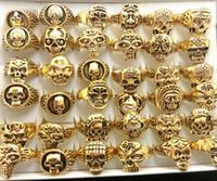 ingrosso regali gotici per gli uomini-Lotto del commercio all'ingrosso 50pcs Gold Mix uomini regalo Mens stile punk gioielli anello del cranio modello scheletro uomo gotico biker anelli regalo del partito all'ingrosso