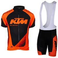 Wholesale Ktm Short - 100% polyester quick dry team pro cycling wear 2017 KTM cycling team jersey gel bike shorts set mens ummer cycling clothing