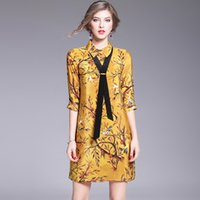 Wholesale Fashion dress Lapel loose tie silk blouse and skirt
