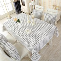 Wholesale cotton linen tablecloth table cover rectangle square gray white black color