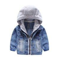 Wholesale Coat Cardigan Denim - Little Boys Cardigan Coat Zipper Denim Baby Hoodies Jackets Outerwear