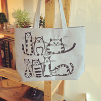 Wholesale Wholesale Cat Bags - Wholesale- YOUYOU MOUSE Cute Cat Printing Tote Female Canvas Handbags Large Capacity Casual Shoulder Bag Women Beach Bag Shopping Bag