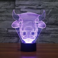 Wholesale Color Changing Table Lamps - Free Shipping Color changing Flashing touch sensor control Bull Acrylic 3D Toro LED Children Bedroom Night Light LED OX Head USB table Lamp