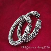 Wholesale Wholesale Wind Shoes - Ethnic wind Miao silver handmade Miao silver bracelet male and female models twisted head bracelet