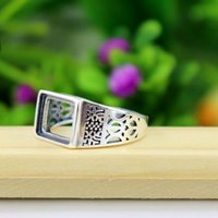 Wholesale Filigree Engagement Rings - 925 Sterling Silver Vintage Retro Engagement Ring 9x11mm Princess Cabochon Semi Mount Fine Silver Women Ring Filigree Jewelry Setting