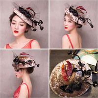 Wholesale Velvet Extensions - Woman headdress hair Lomen bride velvet flowers gauze hat photography hat hat 154194