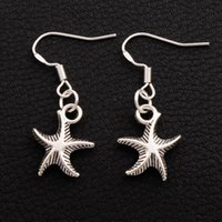Wholesale Sea Earrings - Sea Star Starfish Earrings 925 Silver Fish Ear Hook 30pairs lot Antique Silver Chandelier Jewelry E014 13x34mm