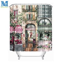 Wholesale Retro Fabric Curtains - Wholesale- Retro Coffee House Waterproof Shower Curtain Fabric Polyester Bathroom Curtain European Style Scenery Bath Curtains