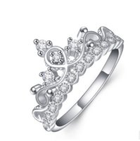 Wholesale Middle East Crown - New! Real 925 Sterling Silver Ring for Women Silver Wedding Engagement Crown Ring Jewelry N88