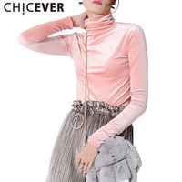 Wholesale Turtleneck Tops For Women - Wholesale- CHICEVER 2017 Spring Slim Velvet Turtleneck Female T Shirts For Women Tops Long Sleeve Top Simple Clothes Korean Fashion