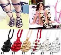 bebé caminando corbata zapatos al por mayor-Sin plomo !!! Zapatos de cuero para niños Mocasines para niñas Zapatos de verano sandalias suaves Sandalias romanas para niños Zapatos con cordones cruzados