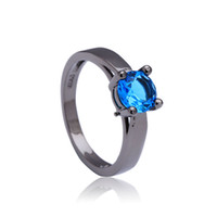 Wholesale black stone jewellery - Blue synthetic Black gold-color Rhodium small round crystal paved gift women Wedding Engagement Ring jewellery