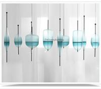 Wholesale Blue Glass Hanging Lamp - Modern art glass chandelier led pendant light for living room bar AC85-265V E27 Bulb hanging glass pendant lamp fixtures#F9115
