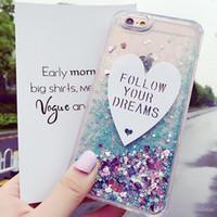 Wholesale Lovely Heart Bags - Glitter Stars Liquid Quicksand Lovely Heart TPU Bling Bling Ice Cream Case For iPhone 7 6s 6 plus 5 5s SE Opp Bag