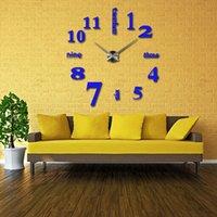 Wholesale Scenic Wall Clocks - Wholesale-2016 new arrival Quartz clocks fashion Europe real big wall clock rushed mirror sticker diy living room Scenic free shipping