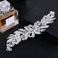Wholesale Elegant Women Accessories - New Elegant Bridal Hair Comb Tiara Silver Color Long Leaf Flower Big Headpiece Wedding Hair Comb Accessories Jewelry for Women