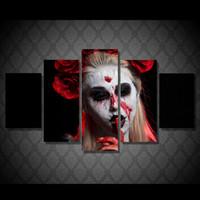 ingrosso tela di pittura astratta di vernice-5 Pz / set Framed HD Stampato su tela wall art pittura astratta joker rose donna pallido bleed face room decor stampa poster e stampe