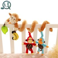 Wholesale Monkey Crib Bedding Sets - Wholesale- MQ Cute Monkey Family Design Infant Baby Spiral Bed Stroller Plush Toy Kid Pram Crib Ornament Hangings toy for babies